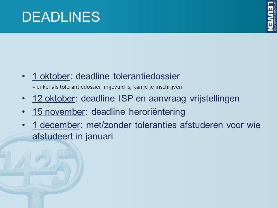DEADLINES 1 oktober: deadline tolerantiedossier