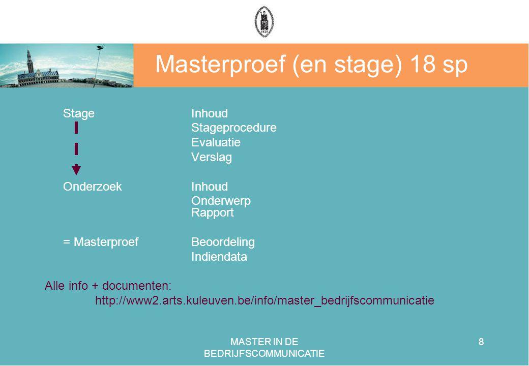 Masterproef (en stage) 18 sp