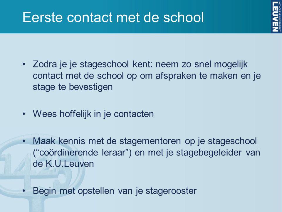 Eerste contact met de school