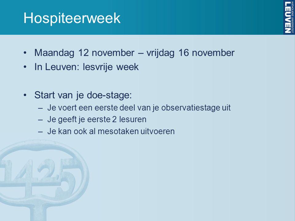 Hospiteerweek Maandag 12 november – vrijdag 16 november