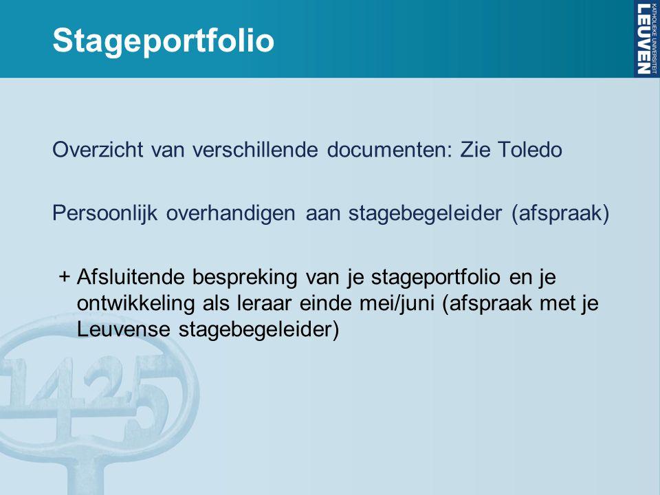 Stageportfolio Overzicht van verschillende documenten: Zie Toledo