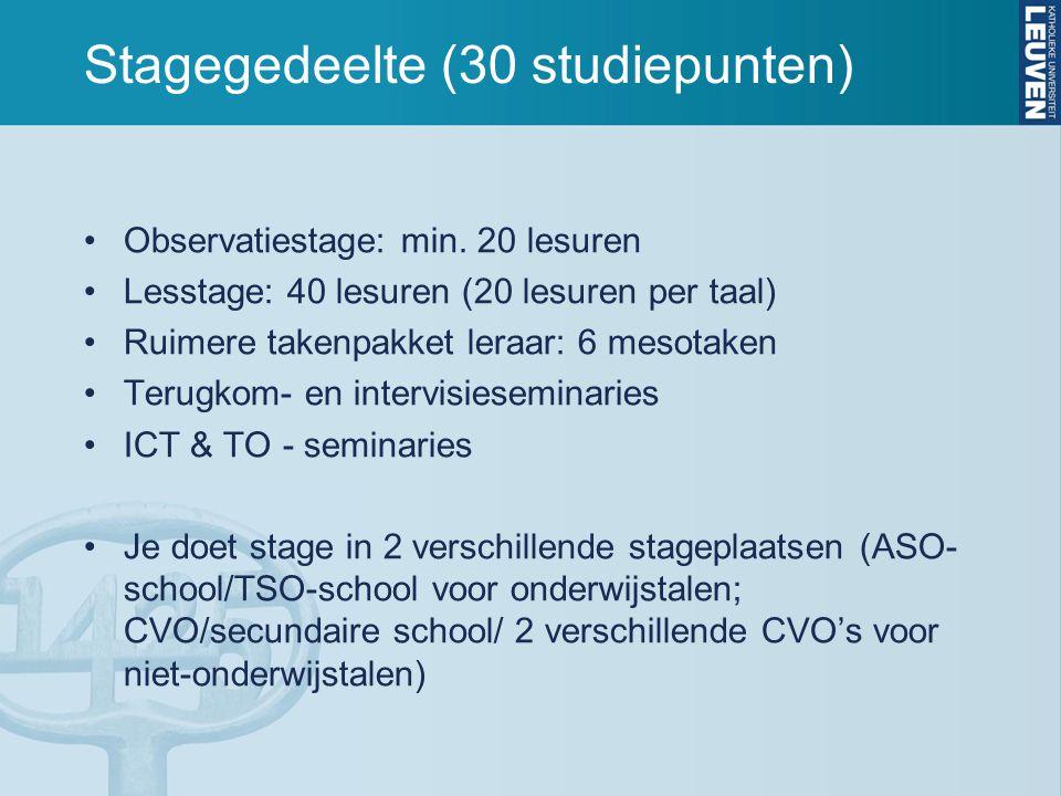 Stagegedeelte (30 studiepunten)