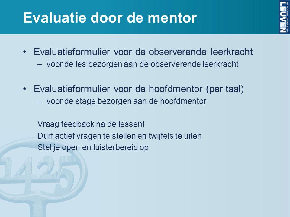 Evaluatie door de mentor