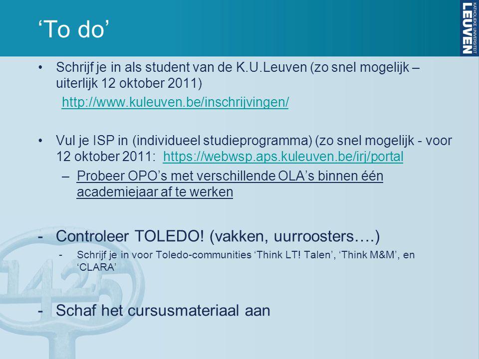 'To do' Controleer TOLEDO! (vakken, uurroosters….)