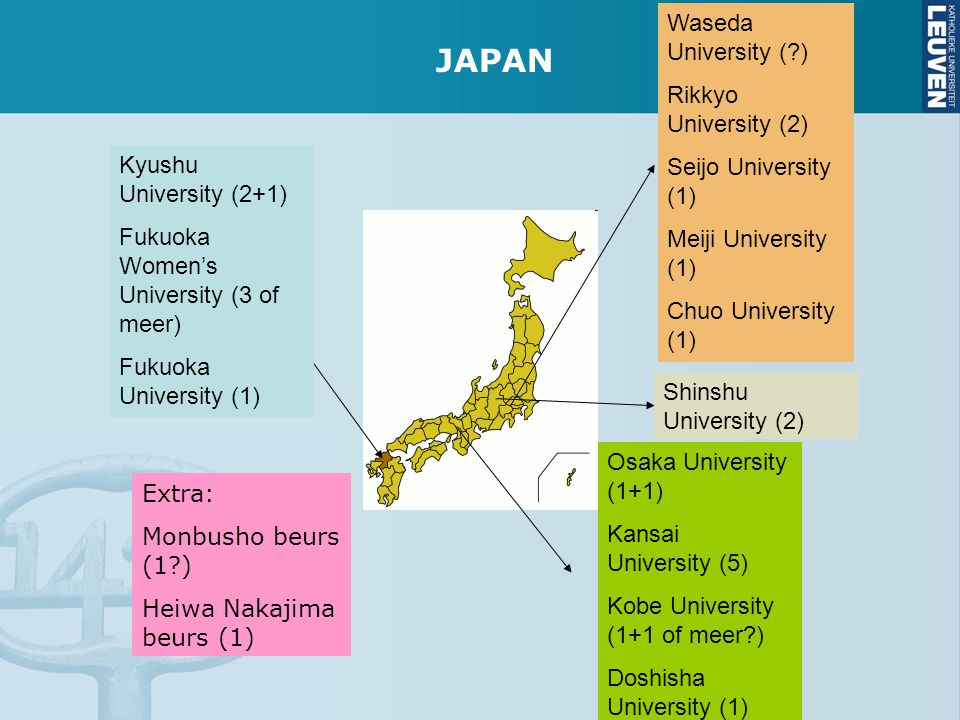 JAPAN Waseda University ( ) Rikkyo University (2) Seijo University (1)