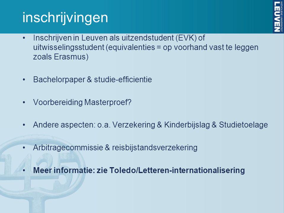 inschrijvingen Inschrijven in Leuven als uitzendstudent (EVK) of uitwisselingsstudent (equivalenties = op voorhand vast te leggen zoals Erasmus)