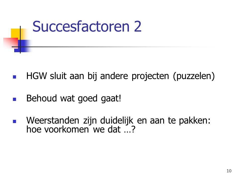 Succesfactoren 2 HGW sluit aan bij andere projecten (puzzelen)