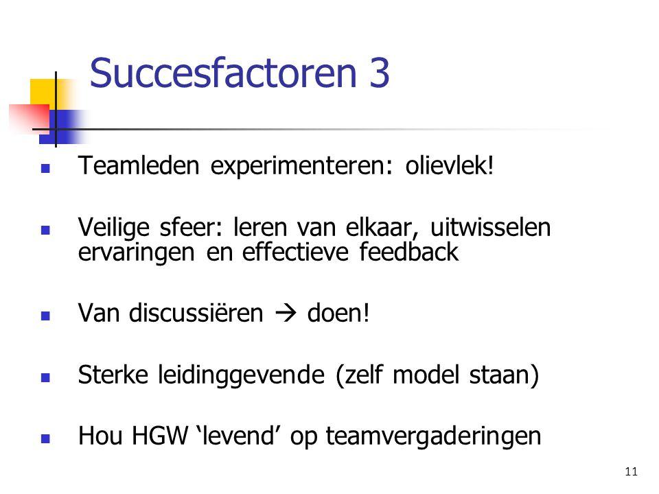 Succesfactoren 3 Teamleden experimenteren: olievlek!