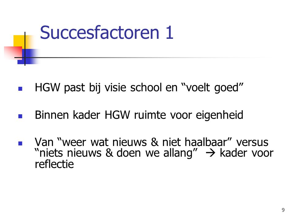 Succesfactoren 1 HGW past bij visie school en voelt goed