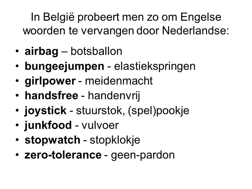 In België probeert men zo om Engelse woorden te vervangen door Nederlandse: