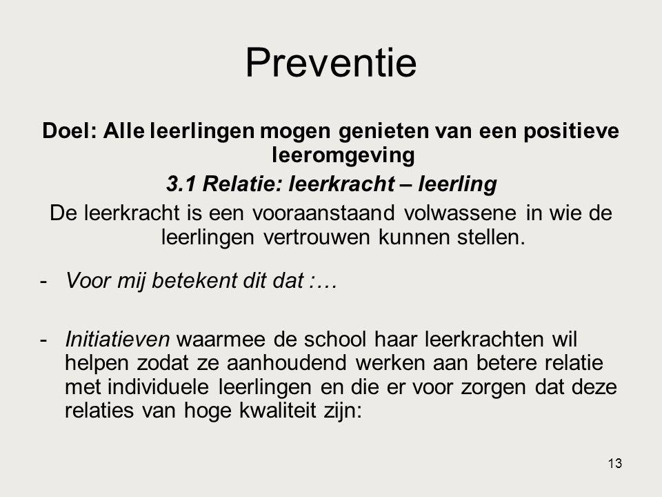 Preventie Doel: Alle leerlingen mogen genieten van een positieve leeromgeving. 3.1 Relatie: leerkracht – leerling.