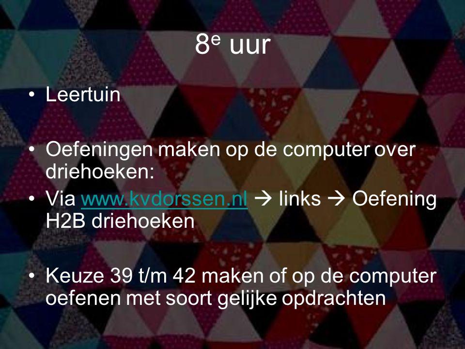 8e uur Leertuin Oefeningen maken op de computer over driehoeken:
