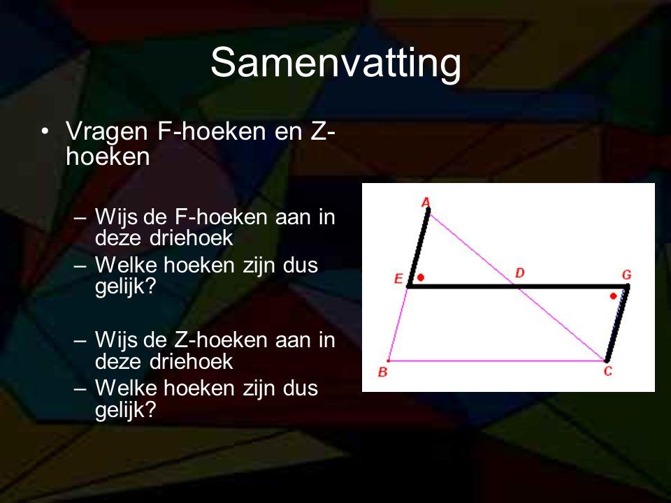 Samenvatting Vragen F-hoeken en Z-hoeken