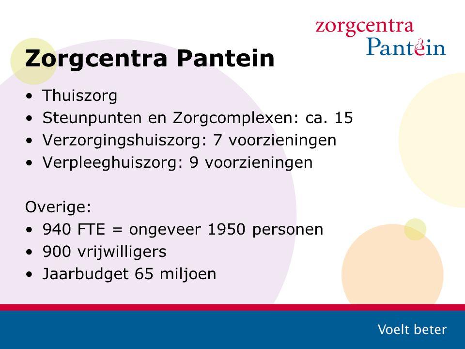 Zorgcentra Pantein Thuiszorg Steunpunten en Zorgcomplexen: ca. 15