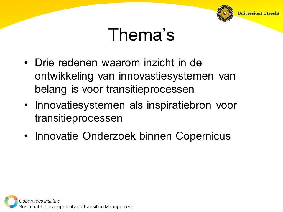Thema's Drie redenen waarom inzicht in de ontwikkeling van innovastiesystemen van belang is voor transitieprocessen.