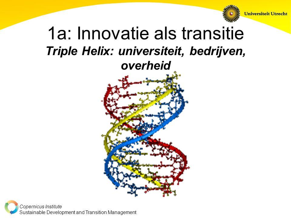 1a: Innovatie als transitie Triple Helix: universiteit, bedrijven, overheid