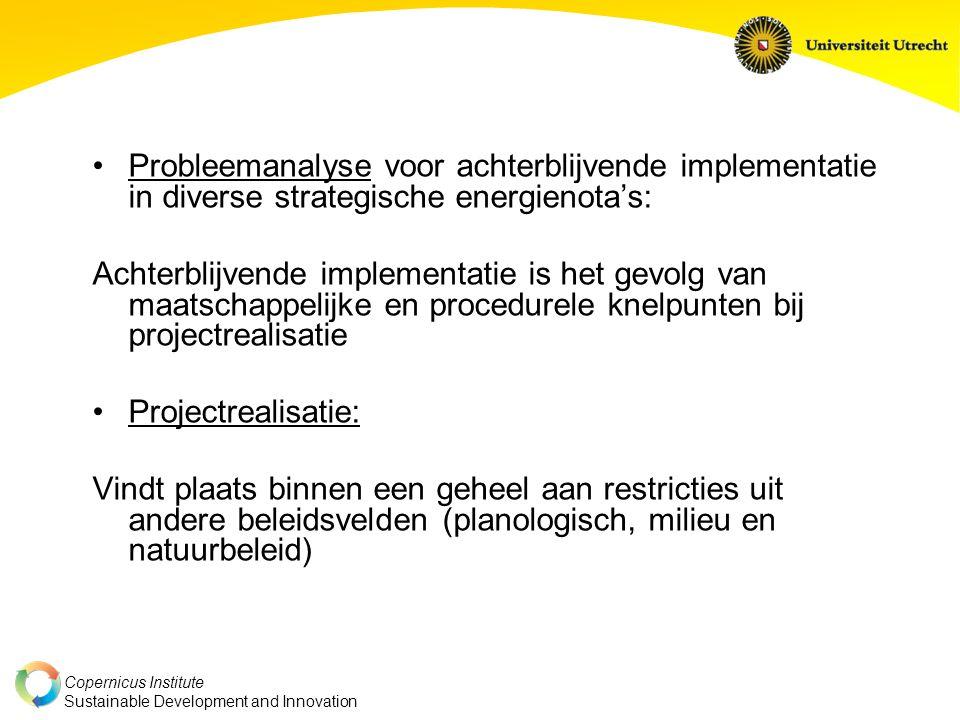 Probleemanalyse voor achterblijvende implementatie in diverse strategische energienota's: