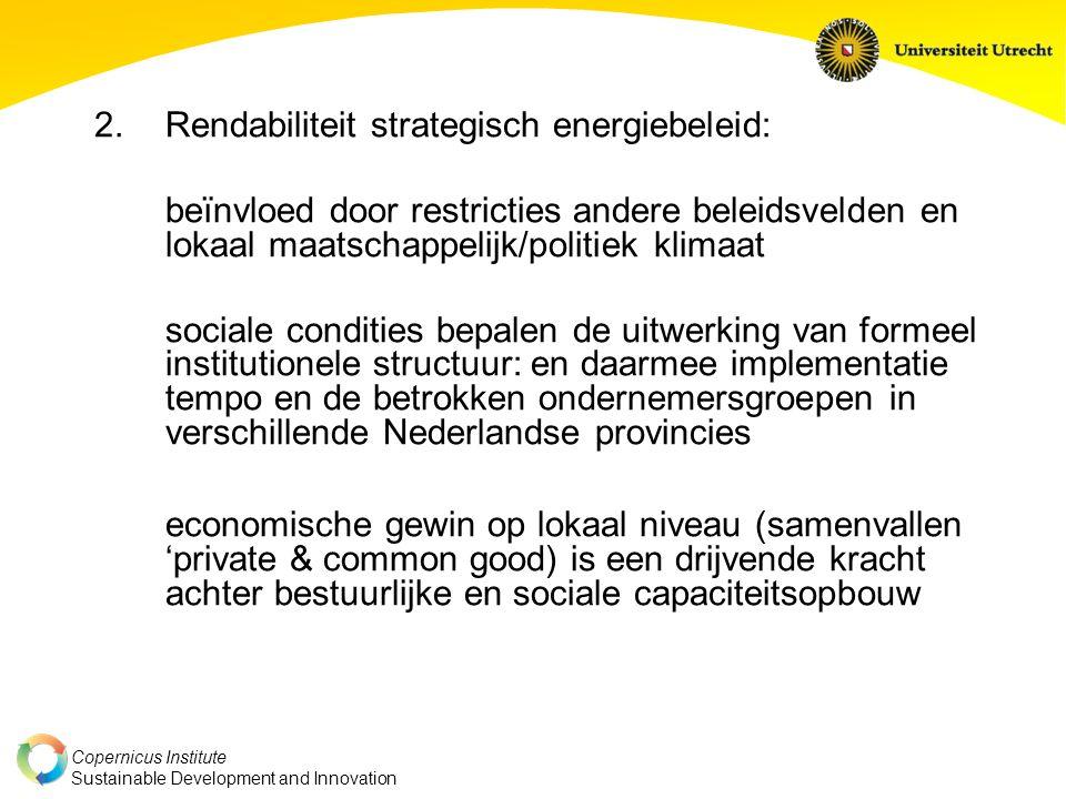 Rendabiliteit strategisch energiebeleid: