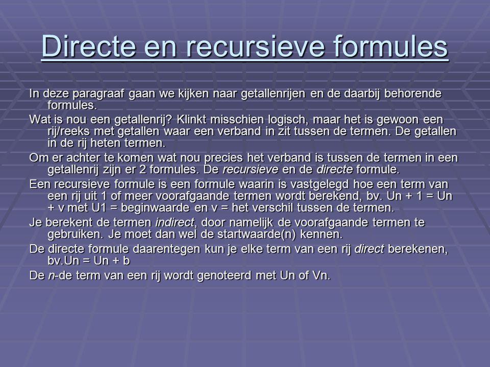 Directe en recursieve formules