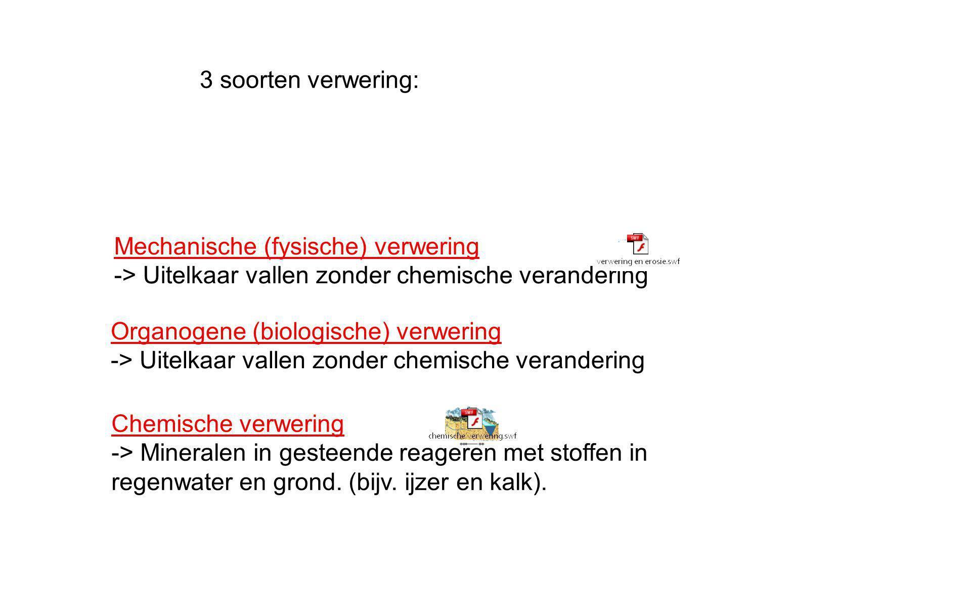 3 soorten verwering: Mechanische (fysische) verwering. -> Uitelkaar vallen zonder chemische verandering.
