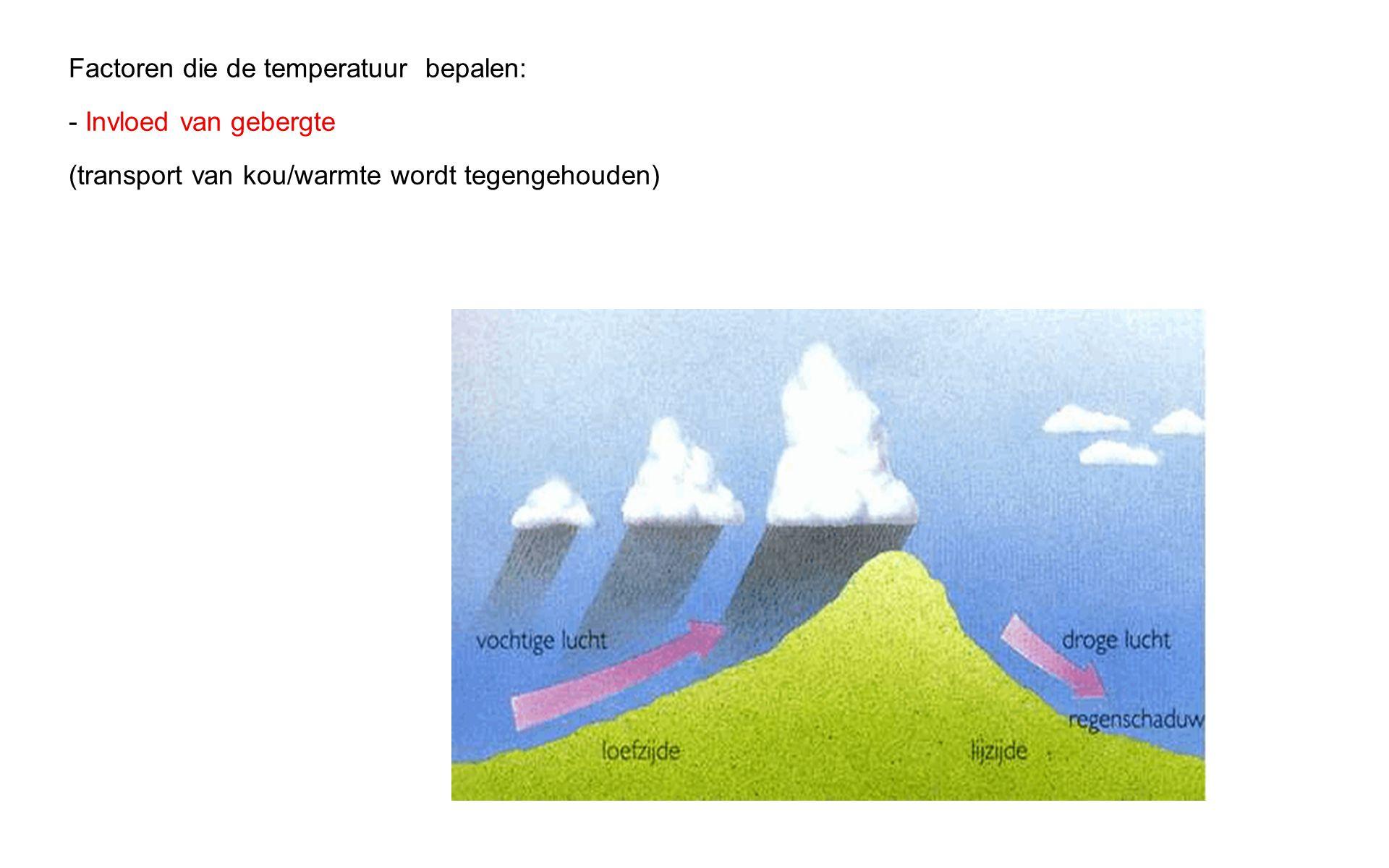 Factoren die de temperatuur bepalen: