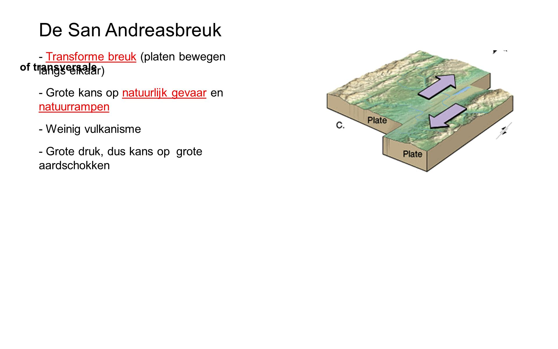 De San Andreasbreuk - Transforme breuk (platen bewegen langs elkaar)