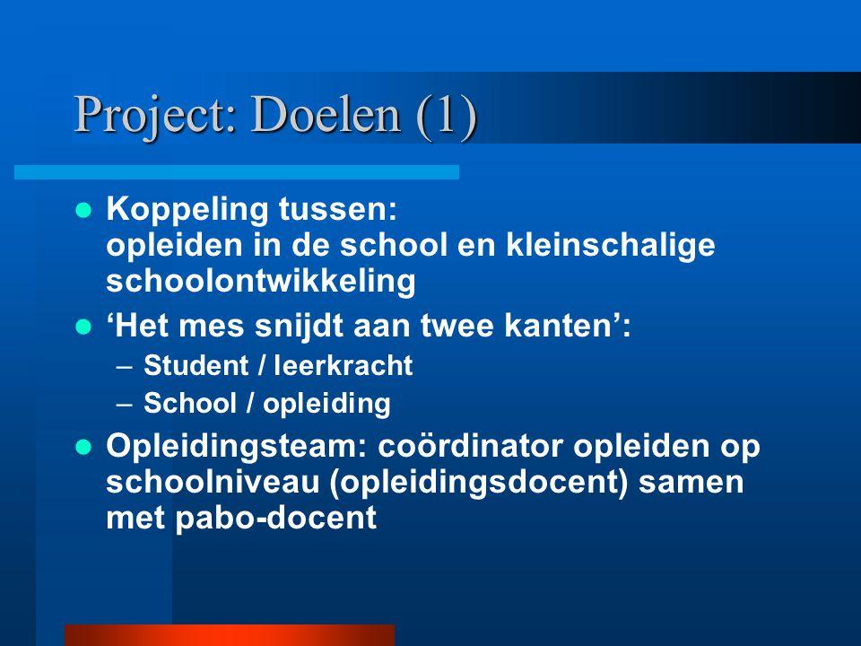 Project: Doelen (1) Koppeling tussen: opleiden in de school en kleinschalige schoolontwikkeling. 'Het mes snijdt aan twee kanten':