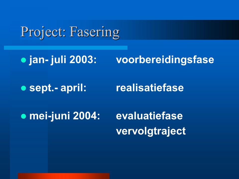 Project: Fasering jan- juli 2003: voorbereidingsfase