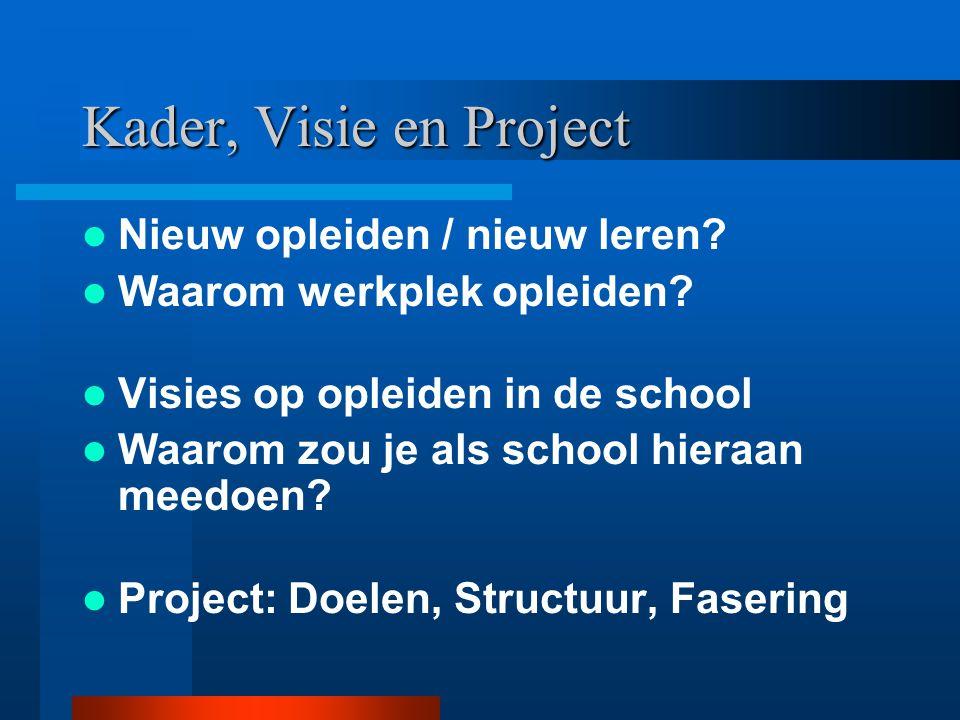 Kader, Visie en Project Nieuw opleiden / nieuw leren