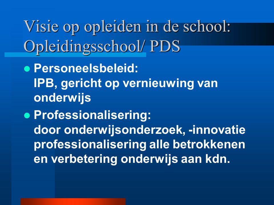 Visie op opleiden in de school: Opleidingsschool/ PDS