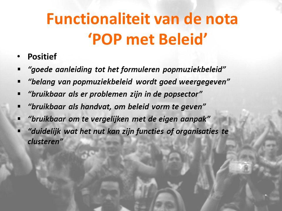 Functionaliteit van de nota 'POP met Beleid'