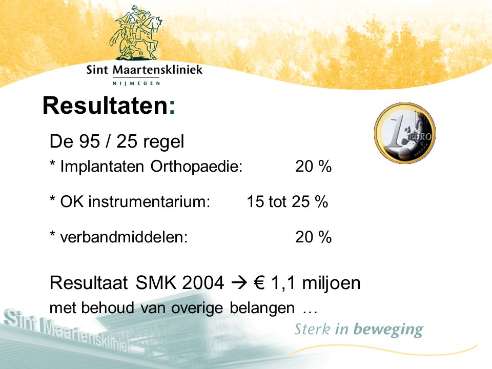 Resultaten: De 95 / 25 regel * Implantaten Orthopaedie: 20 % * OK instrumentarium: 15 tot 25 % * verbandmiddelen: 20 %