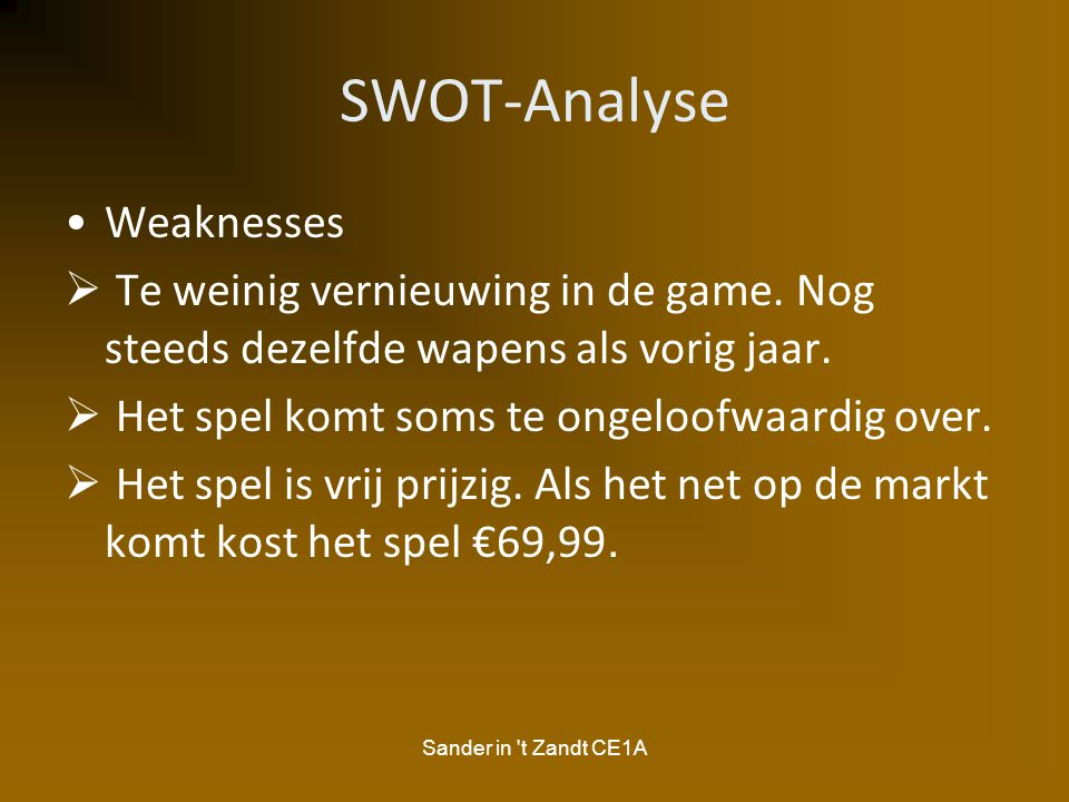 SWOT-Analyse Weaknesses