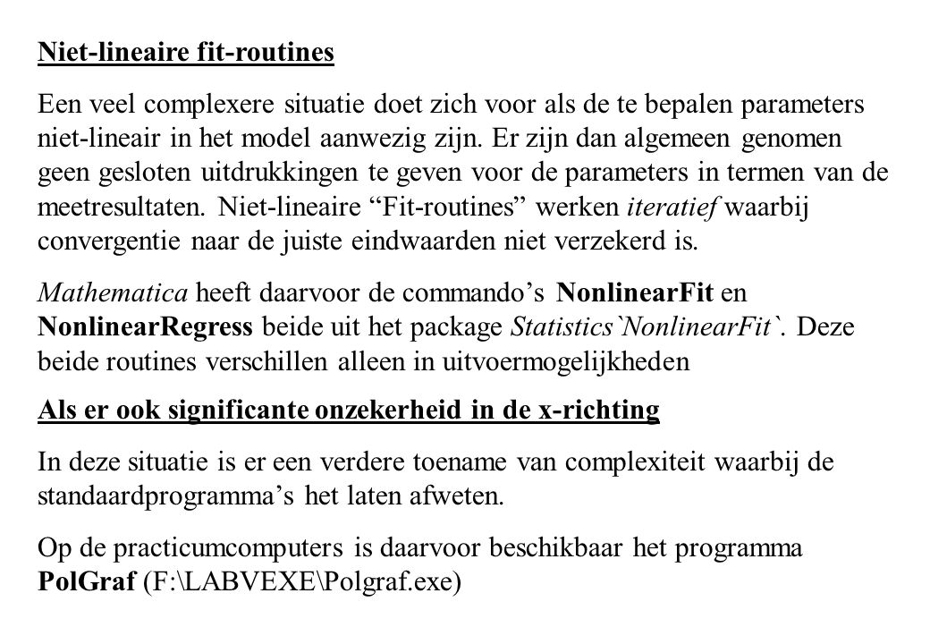 Niet-lineaire fit-routines