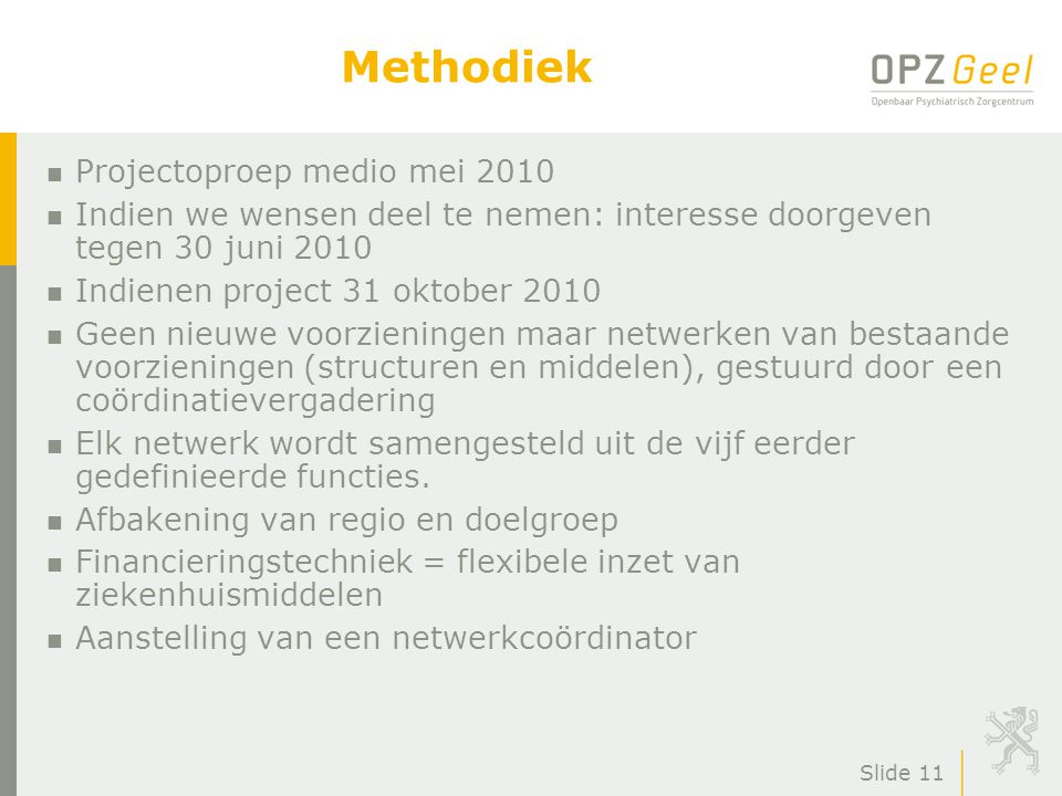 Methodiek Projectoproep medio mei 2010