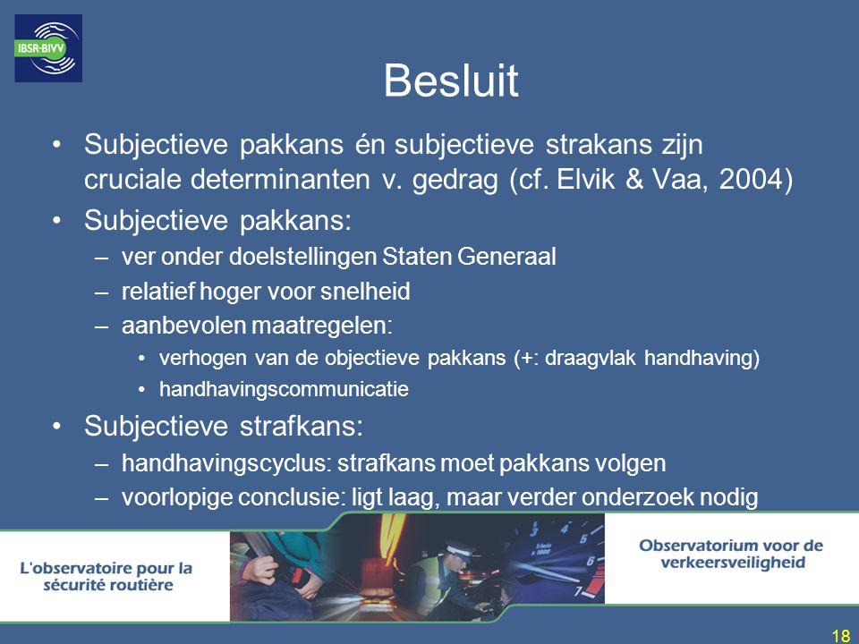 Besluit Subjectieve pakkans én subjectieve strakans zijn cruciale determinanten v. gedrag (cf. Elvik & Vaa, 2004)