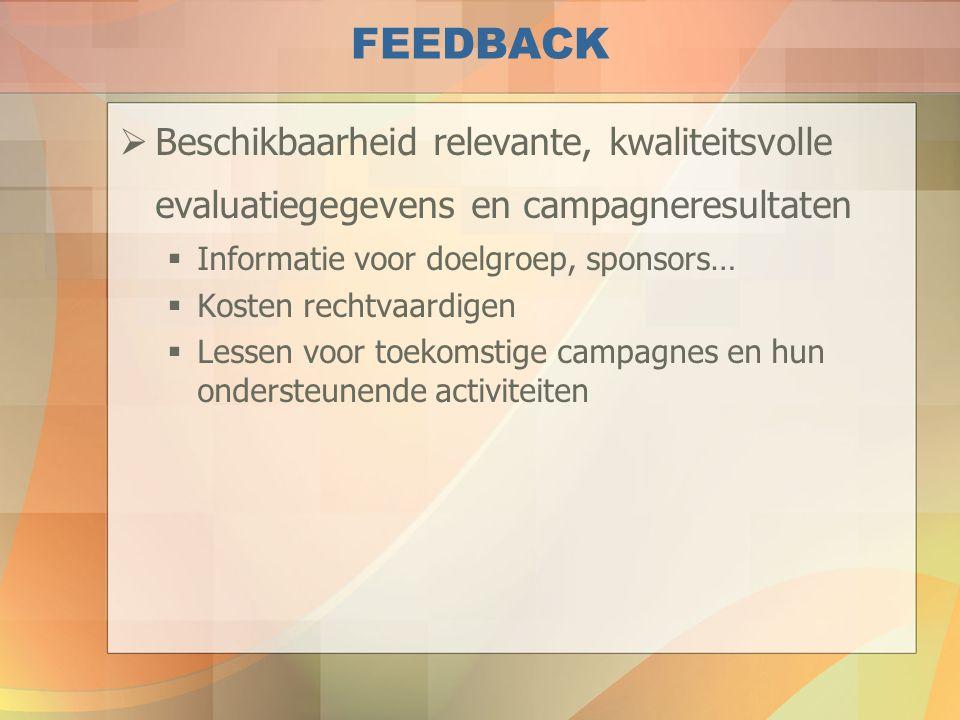 FEEDBACK Beschikbaarheid relevante, kwaliteitsvolle evaluatiegegevens en campagneresultaten. Informatie voor doelgroep, sponsors…