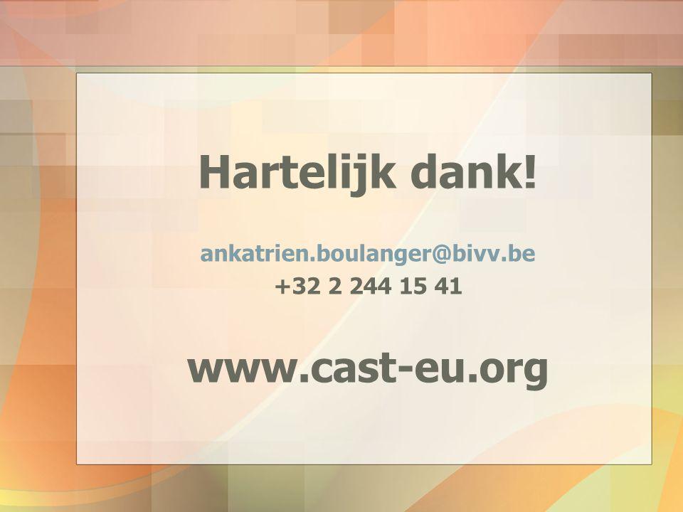 Hartelijk dank! www.cast-eu.org ankatrien.boulanger@bivv.be