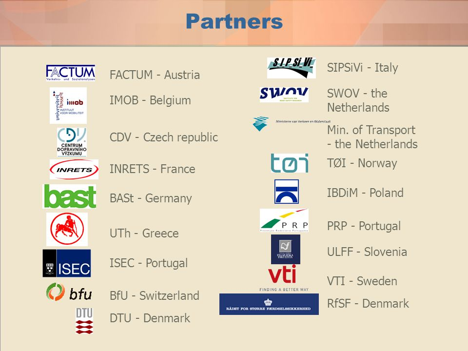 Partners SIPSiVi - Italy FACTUM - Austria SWOV - the Netherlands