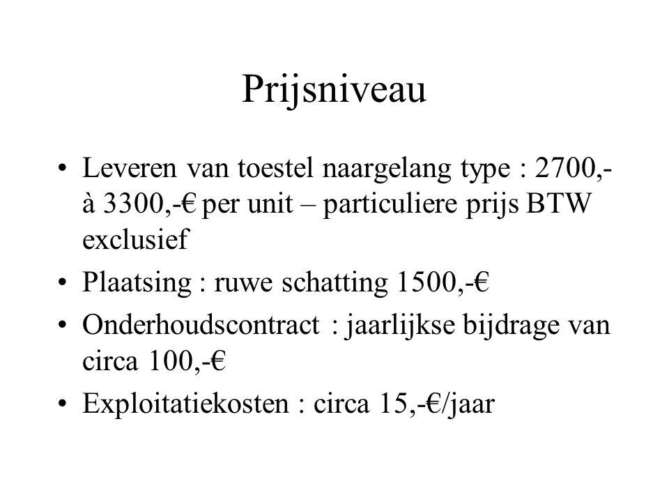 Prijsniveau Leveren van toestel naargelang type : 2700,- à 3300,-€ per unit – particuliere prijs BTW exclusief.