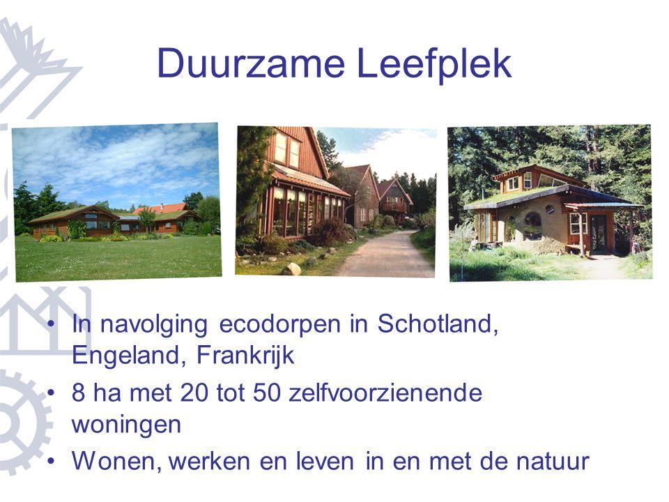 Duurzame Leefplek In navolging ecodorpen in Schotland, Engeland, Frankrijk. 8 ha met 20 tot 50 zelfvoorzienende woningen.