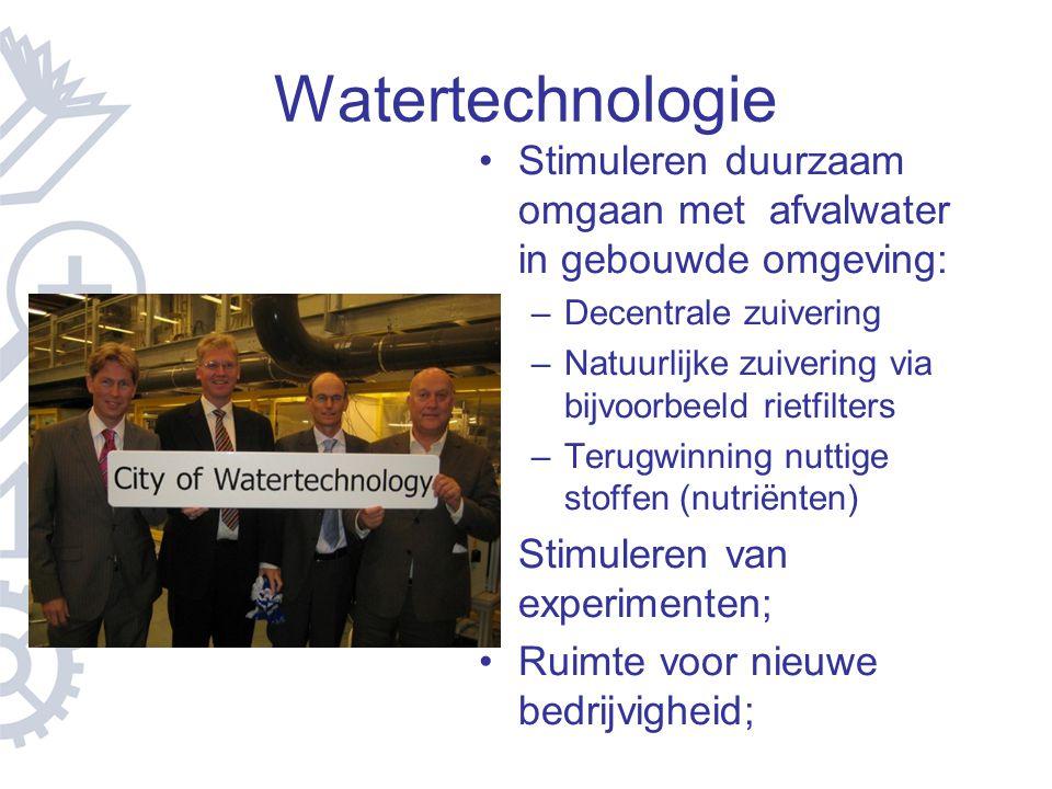 Watertechnologie Stimuleren duurzaam omgaan met afvalwater in gebouwde omgeving: Decentrale zuivering.