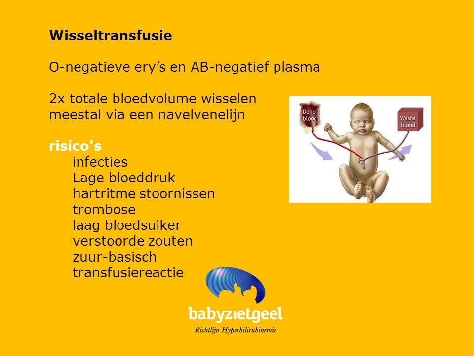 Wisseltransfusie O-negatieve ery's en AB-negatief plasma. 2x totale bloedvolume wisselen. meestal via een navelvenelijn.