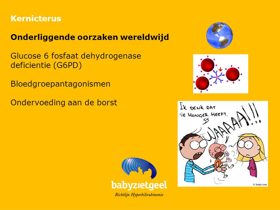 Kernicterus Onderliggende oorzaken wereldwijd. Glucose 6 fosfaat dehydrogenase deficientie (G6PD) Bloedgroepantagonismen.