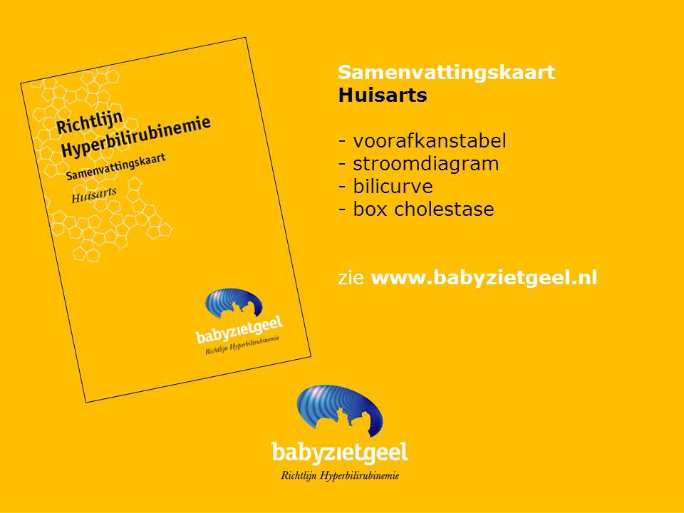 Samenvattingskaart Huisarts. - voorafkanstabel. - stroomdiagram. - bilicurve. - box cholestase.