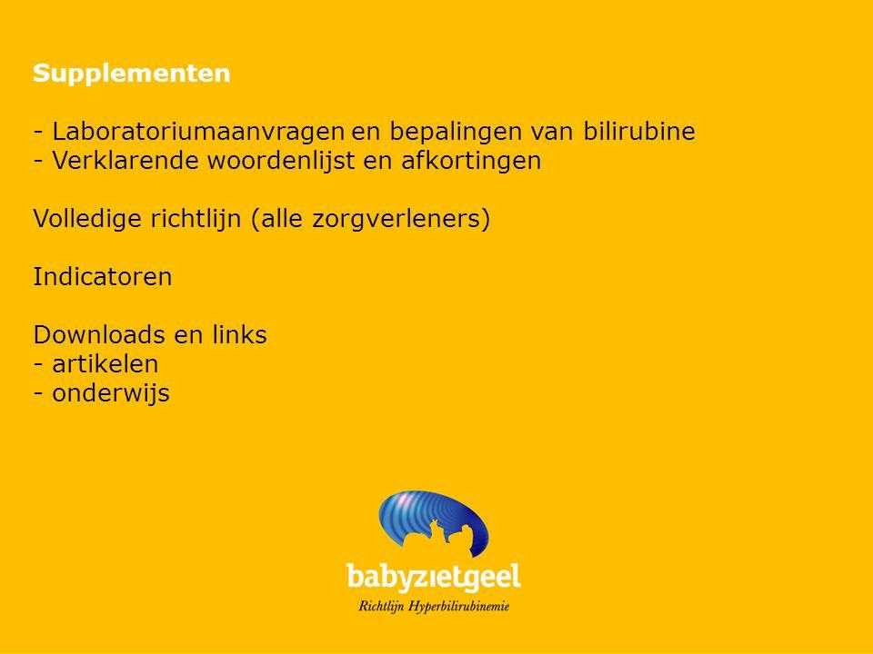 Supplementen - Laboratoriumaanvragen en bepalingen van bilirubine. - Verklarende woordenlijst en afkortingen.