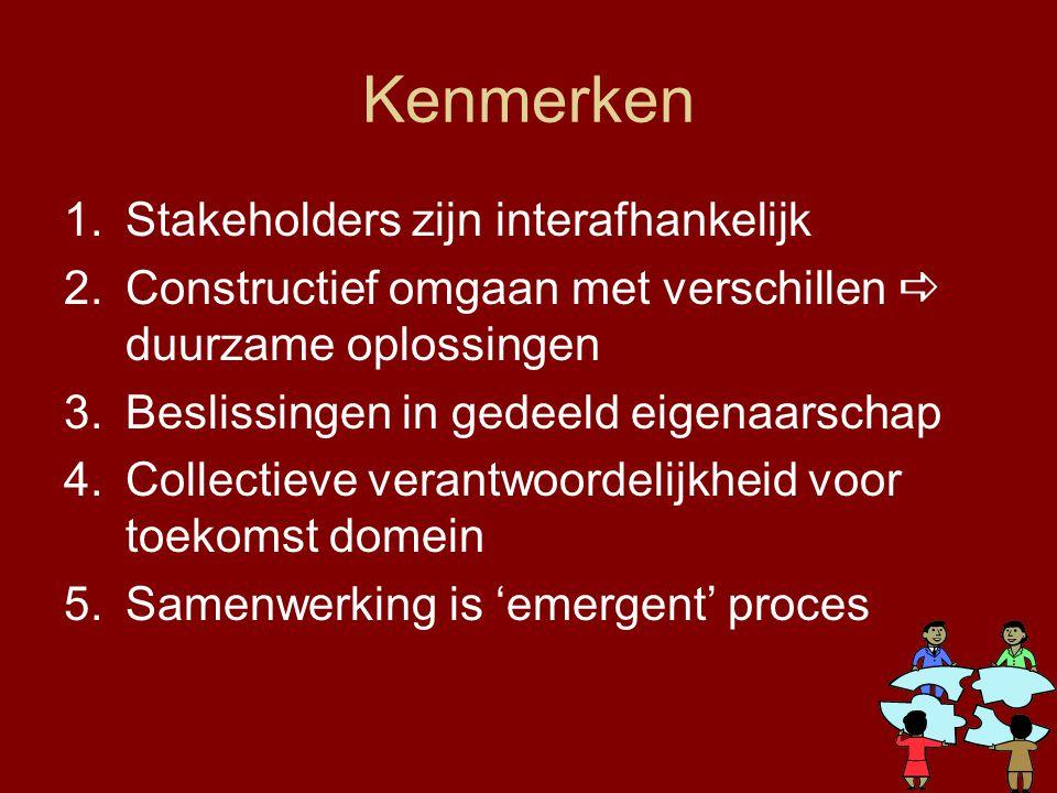 Kenmerken Stakeholders zijn interafhankelijk