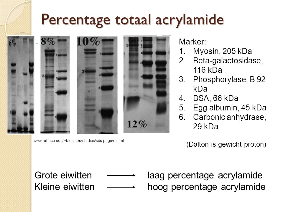 Percentage totaal acrylamide