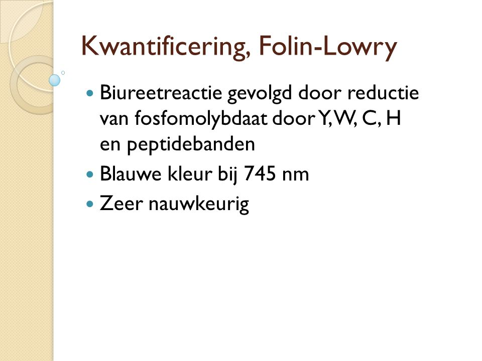 Kwantificering, Folin-Lowry