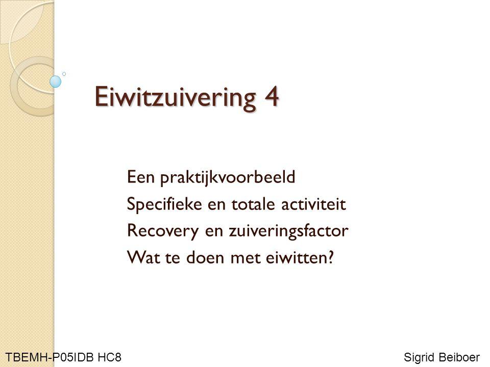 Eiwitzuivering 4 Een praktijkvoorbeeld Specifieke en totale activiteit